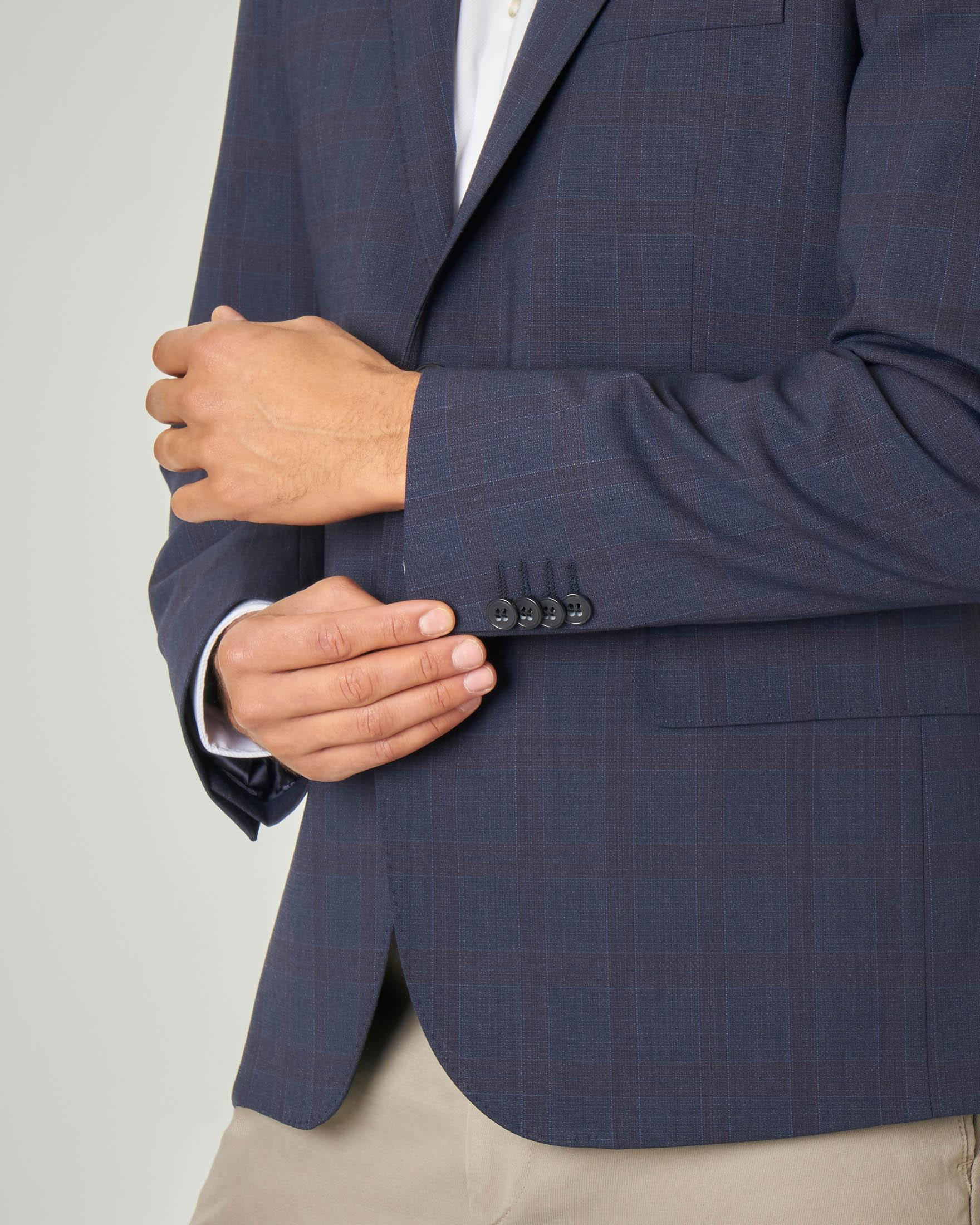 Blazer blu in tela di lana fantasia check tono su tono