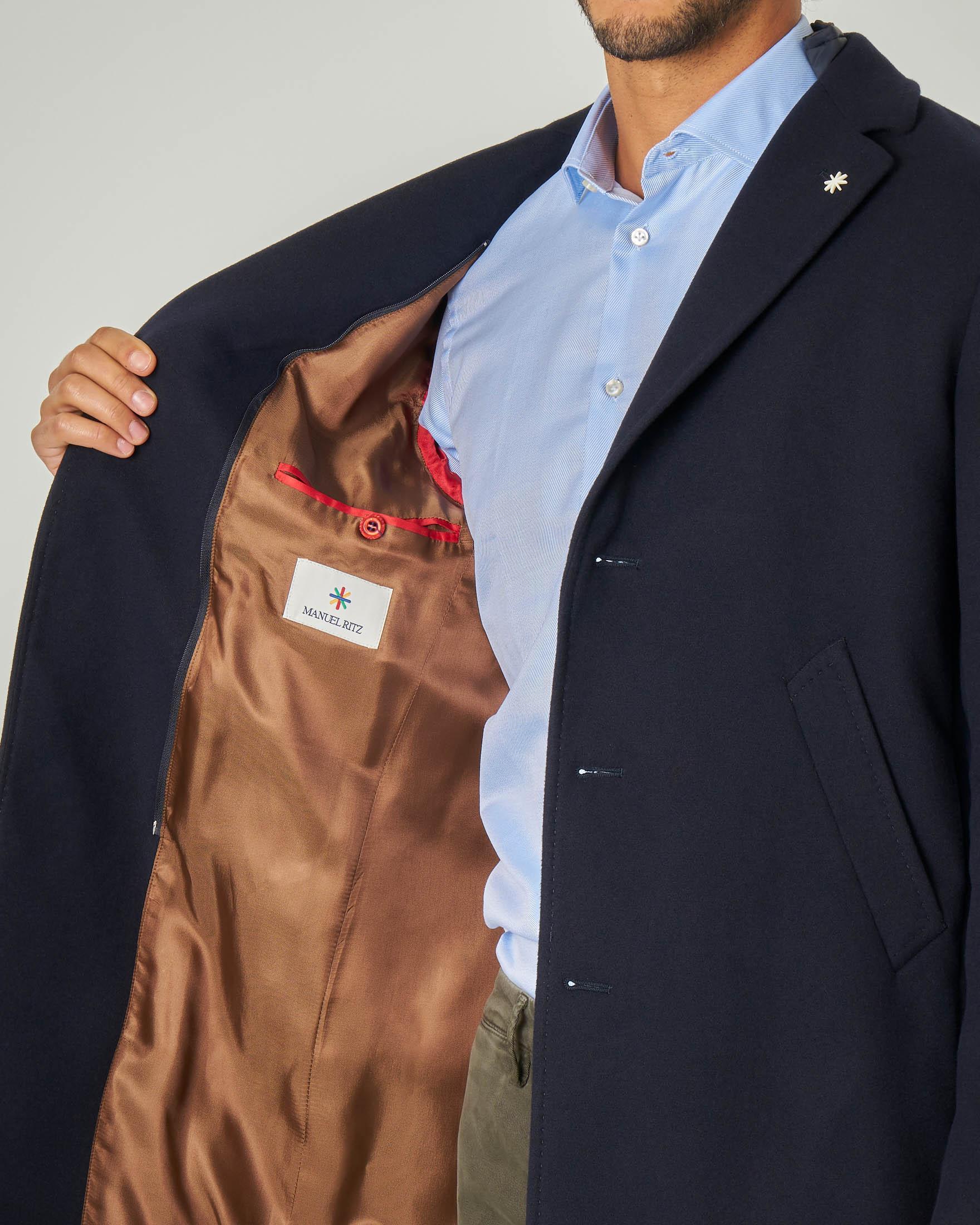 Manuel Ritz Uomo Cappotto con Collo Rever Cammello
