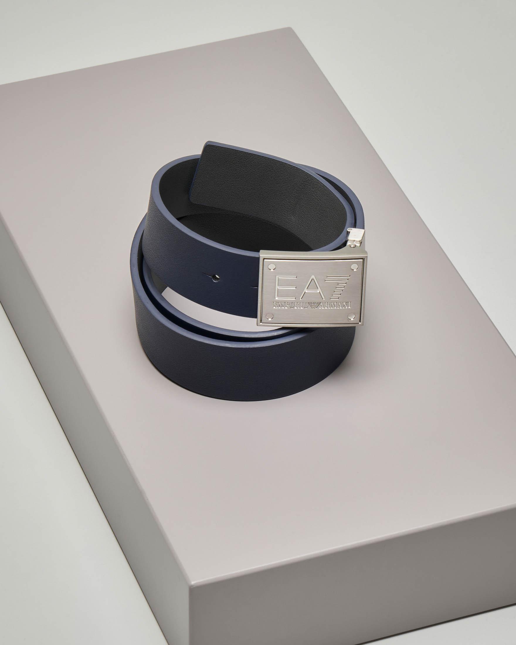 Cintura blu in ecopelle reversibile in grigia
