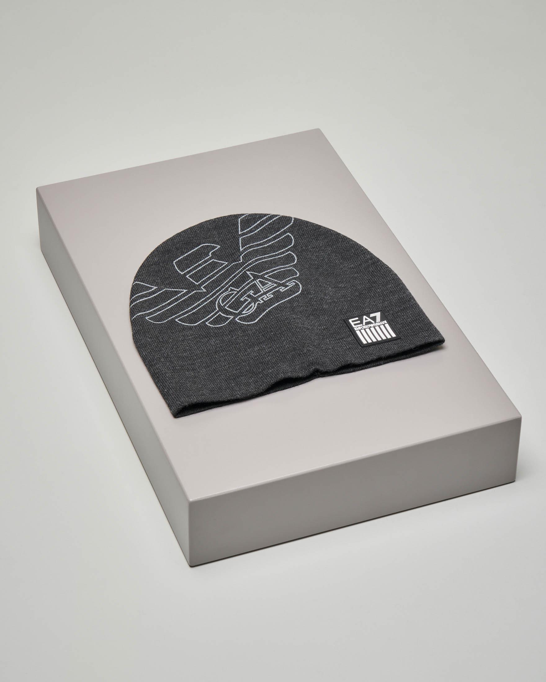 Berretto grigio con maxi-logo aquila