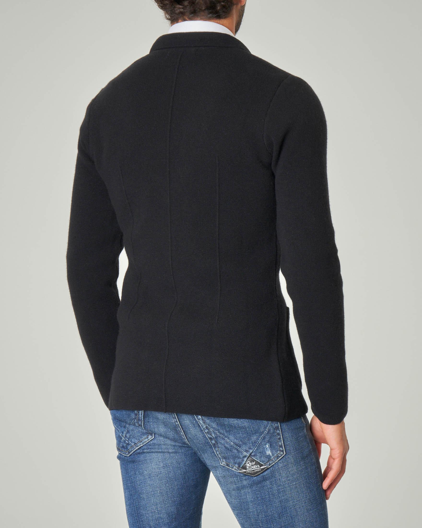 Giacca maglia nera tinta unita