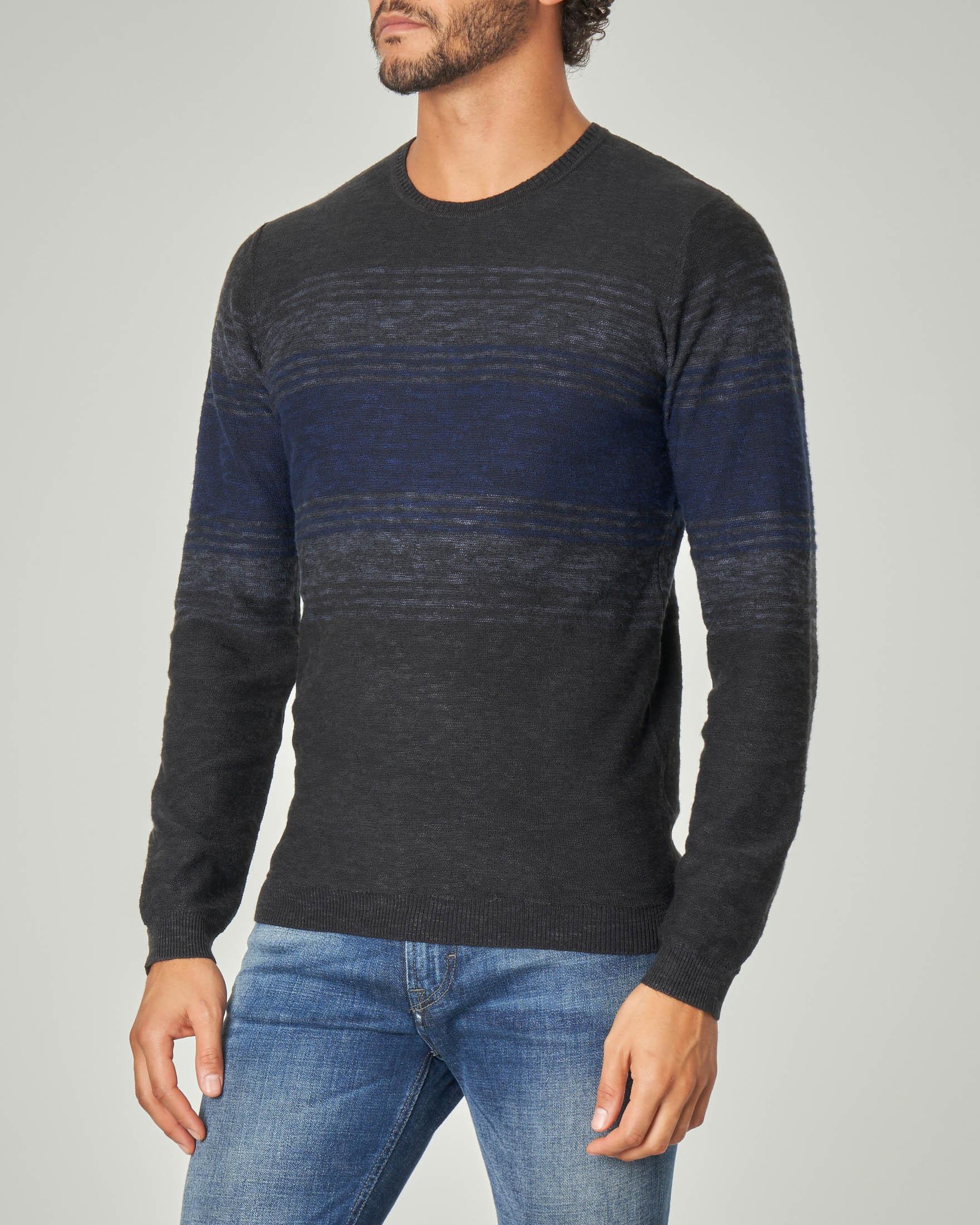 Maglia grigio scuro melange con fascia e righe blu