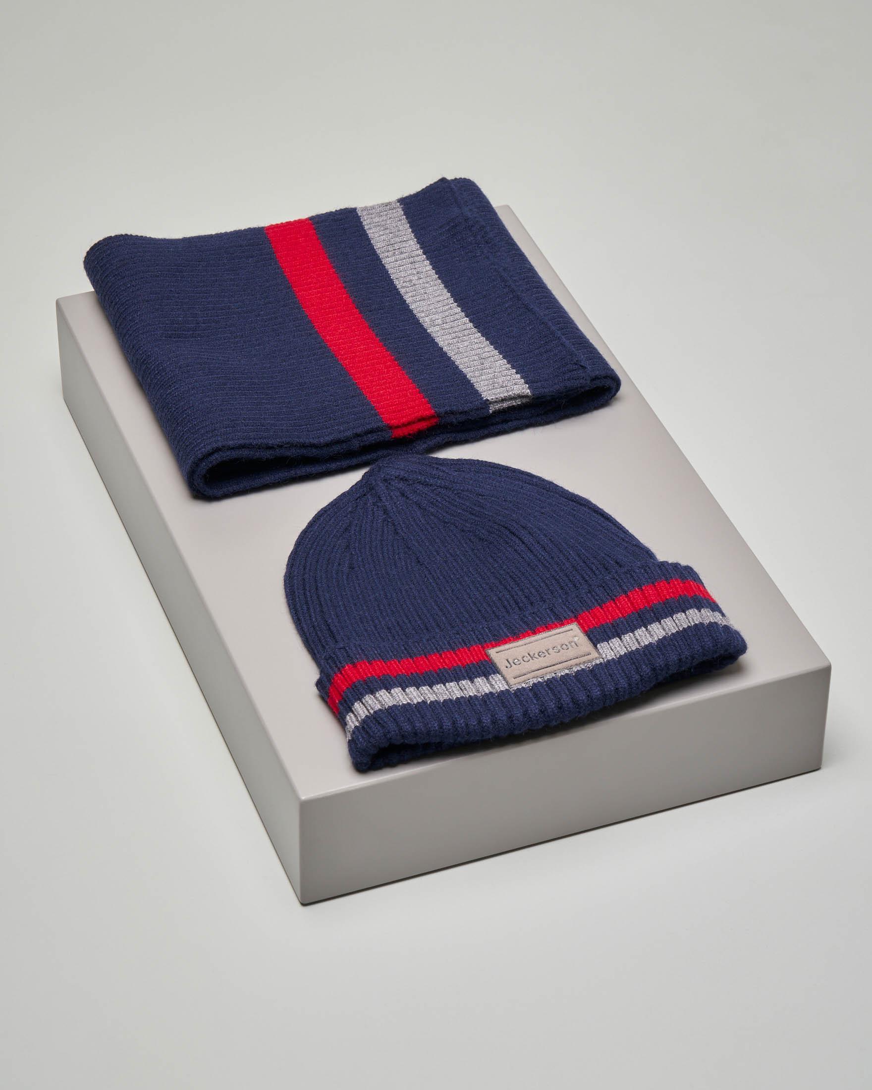 Set sciarpa e berretto blu con riga rossa e grigia