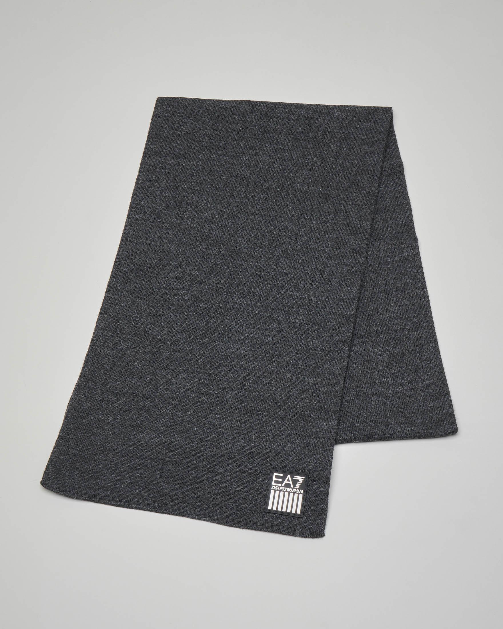 Sciarpa grigio antracite con maxi-logo aquila