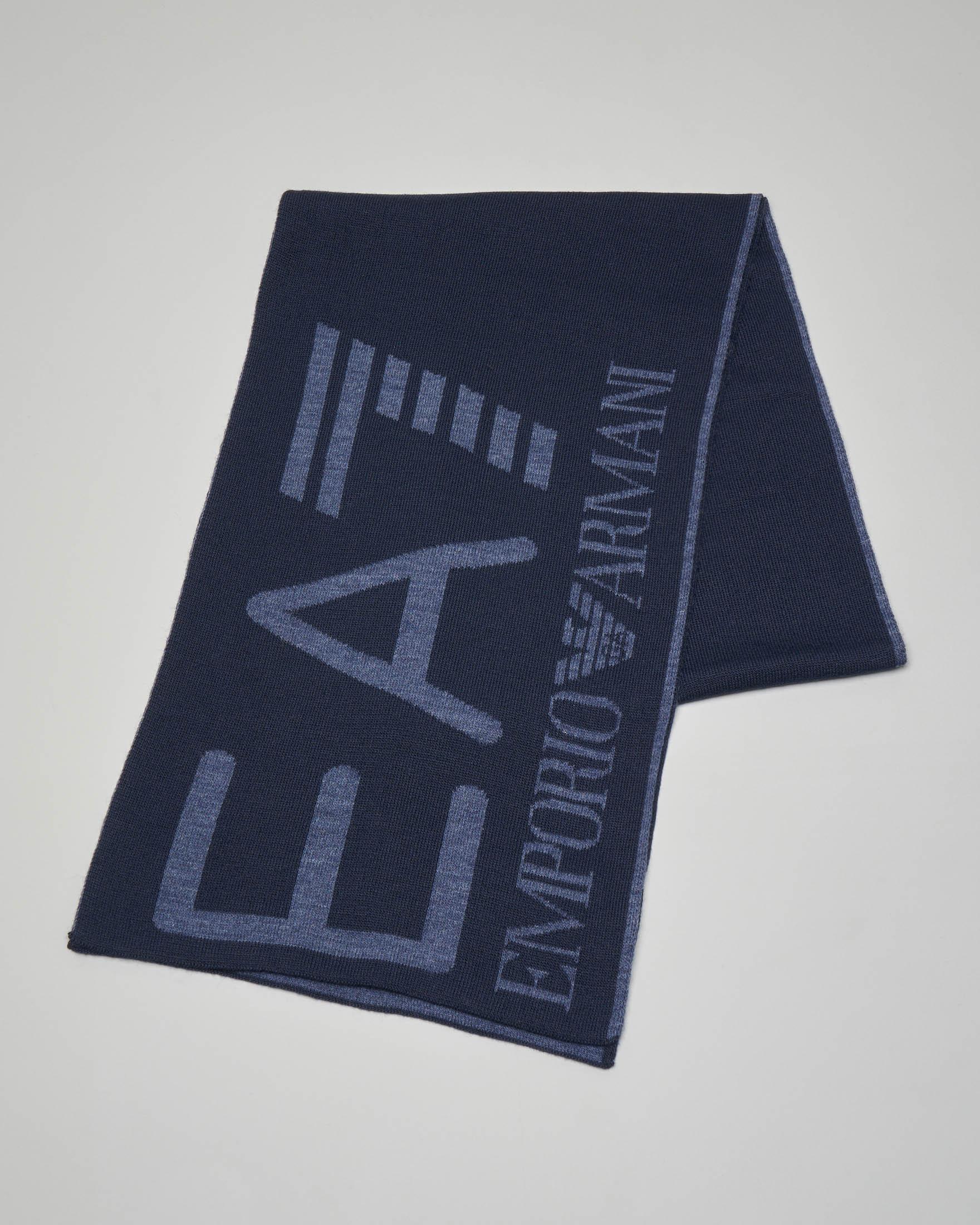 Sciarpa blu con maxi-logo in contrasto colore