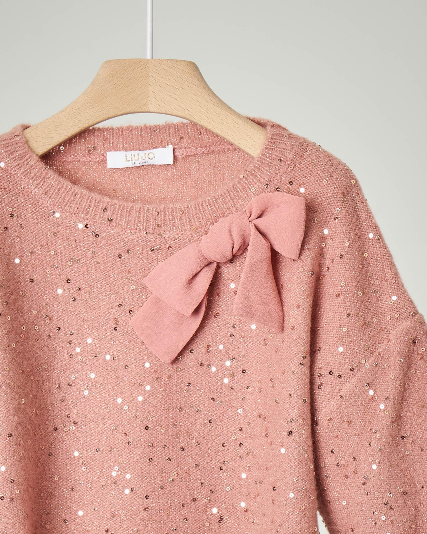 Maglia rosa girocollo con paillettes oro applicate e fiocco tono su tono 4-6 anni