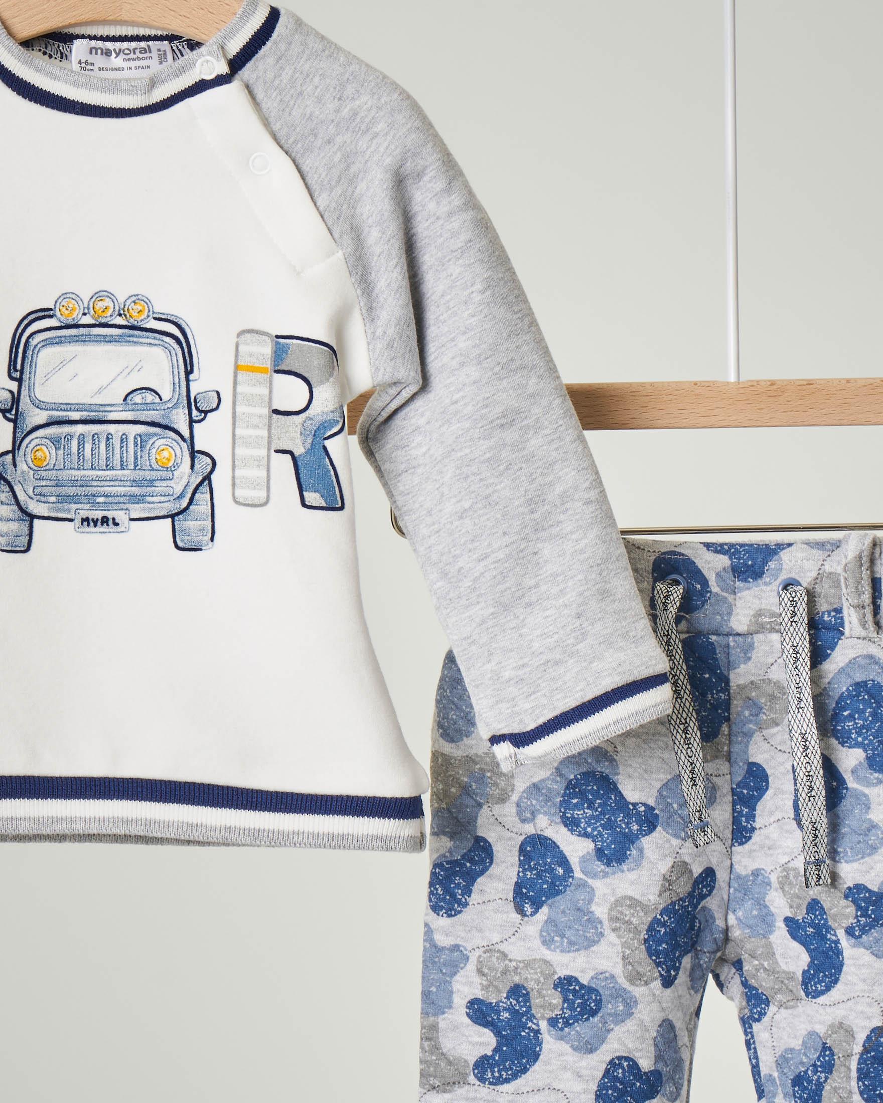 Tuta in jersey di cotone grigia con pantaloni a fantasia camouflage blu e felpa con stampa 4-12 mesi