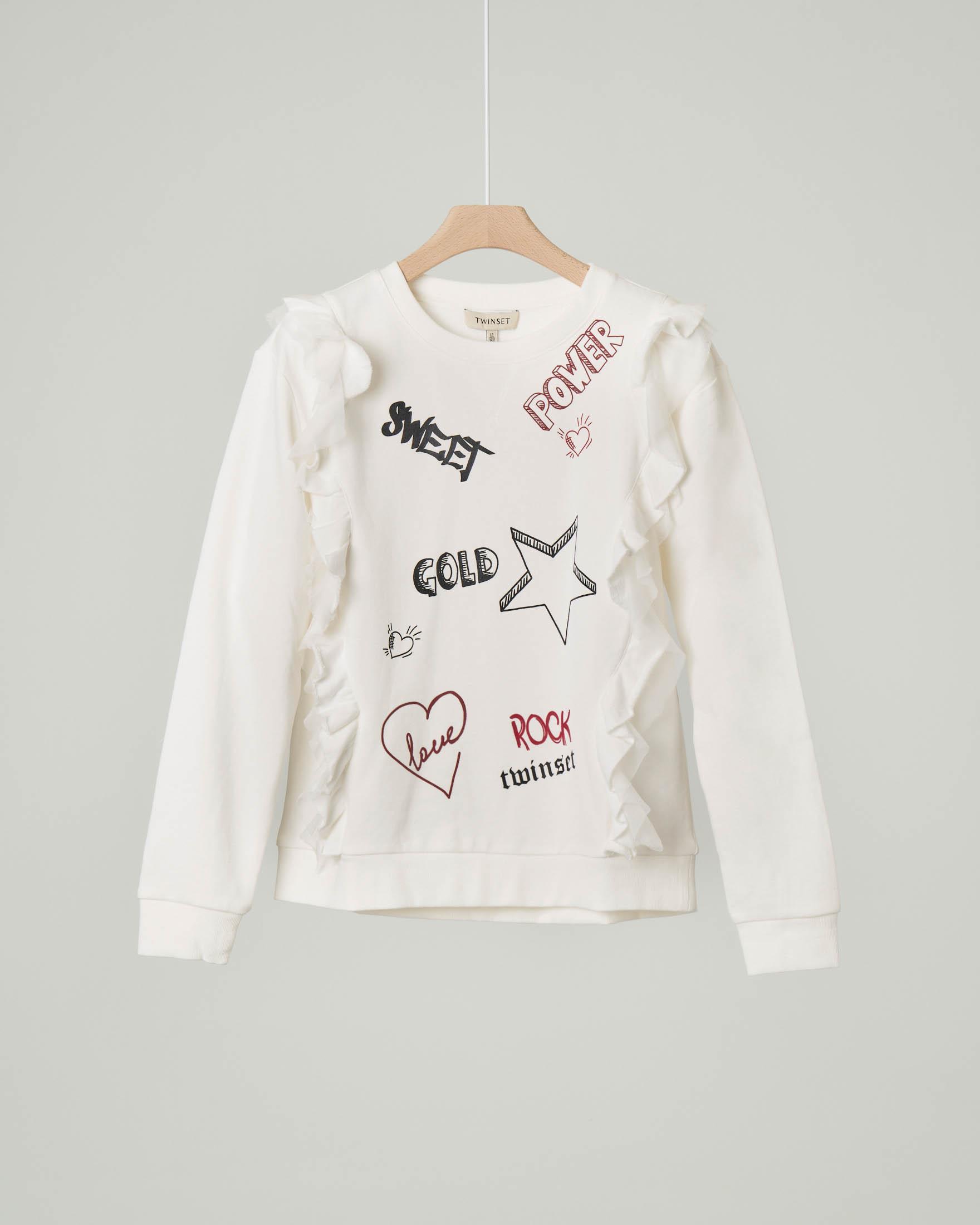 Felpa bianca in cotone con scritte stile street e rouches 8-10 anni
