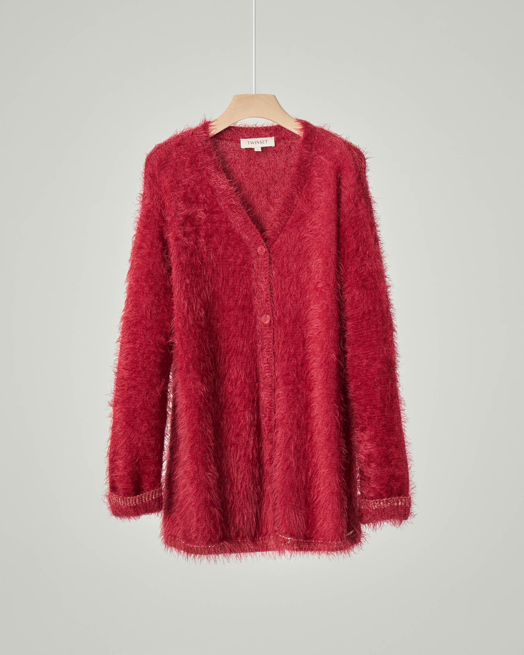 Maxi cardigan color rubino in tessuto effetto mohair con profili in lurex color oro 8-10 anni