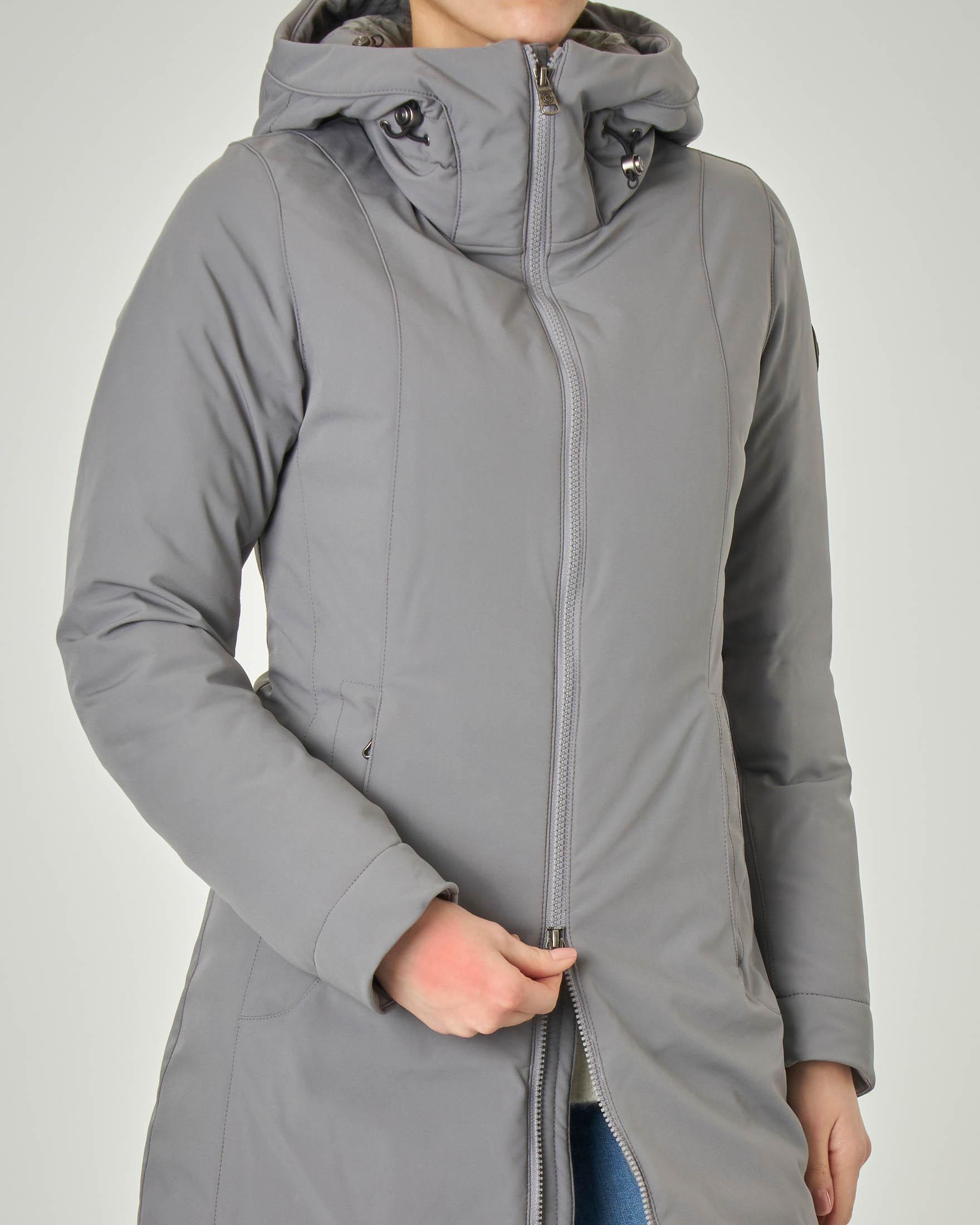 Giacca grigia lunga in tessuto tecnico opaco liscio con collo alto e cappuccio