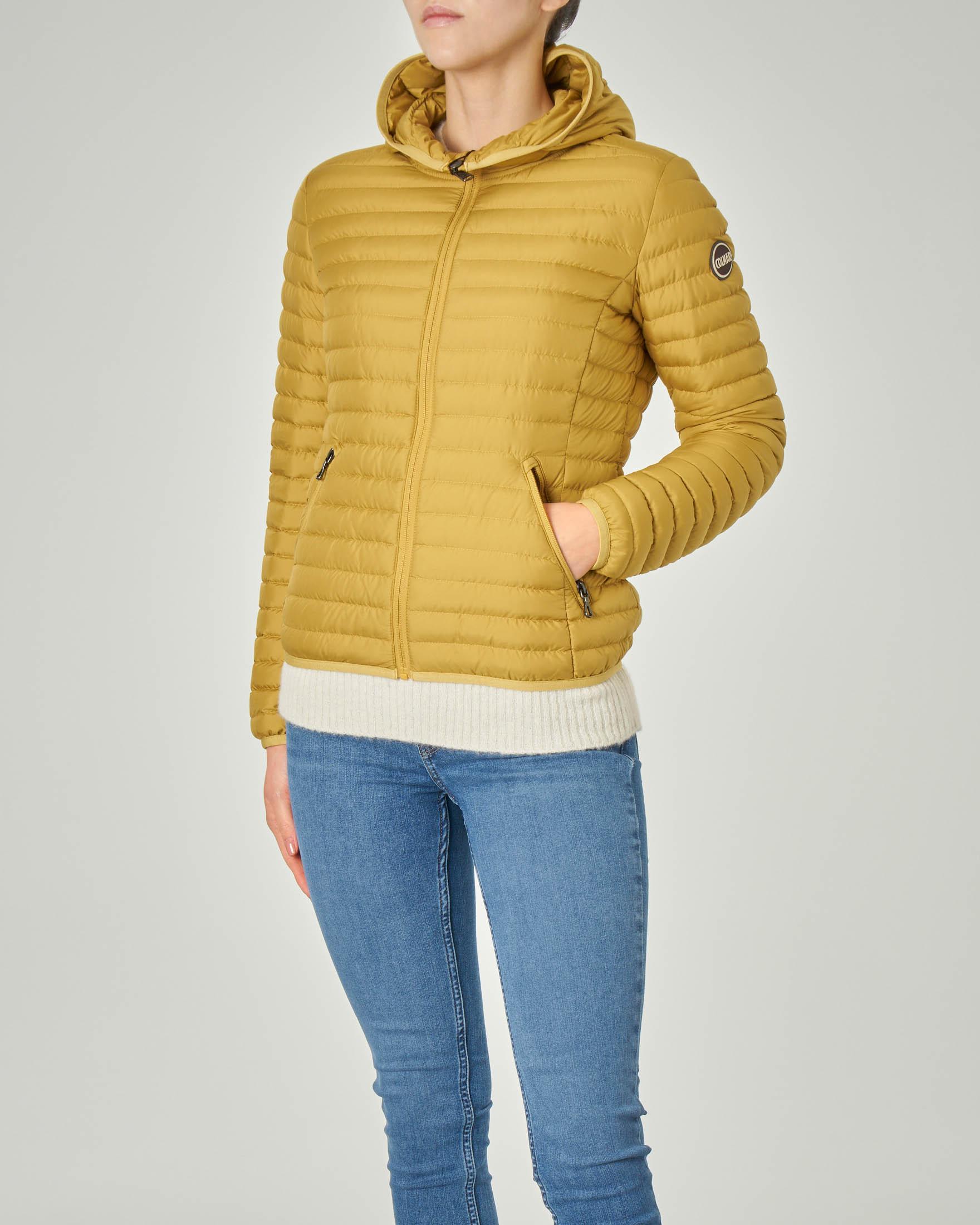 Piumino leggero corto con cappuccio in tessuto opaco giallo | Pellizzari E commerce