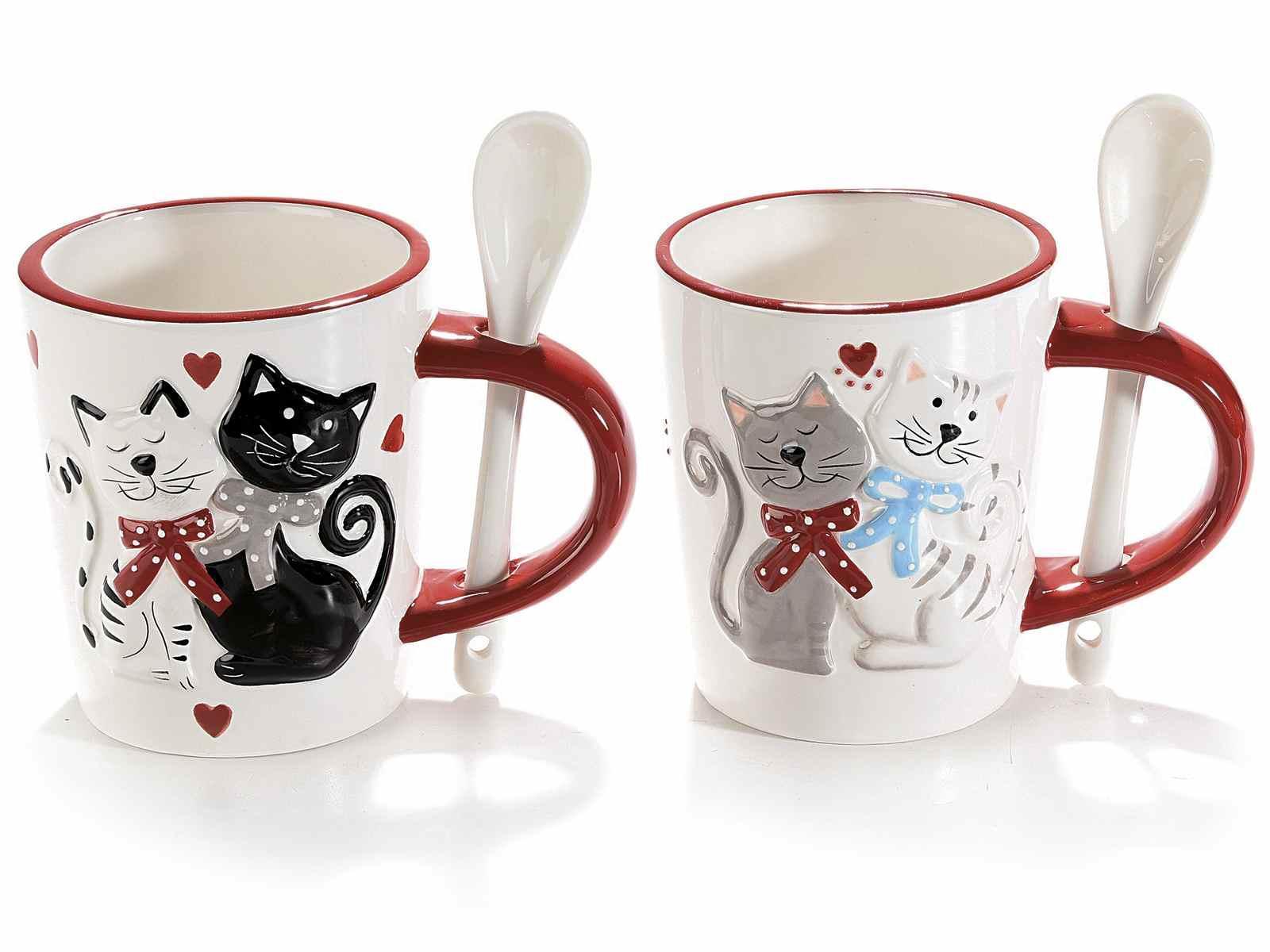 Tazza Cucchiaino Gatti Bianco e Nero