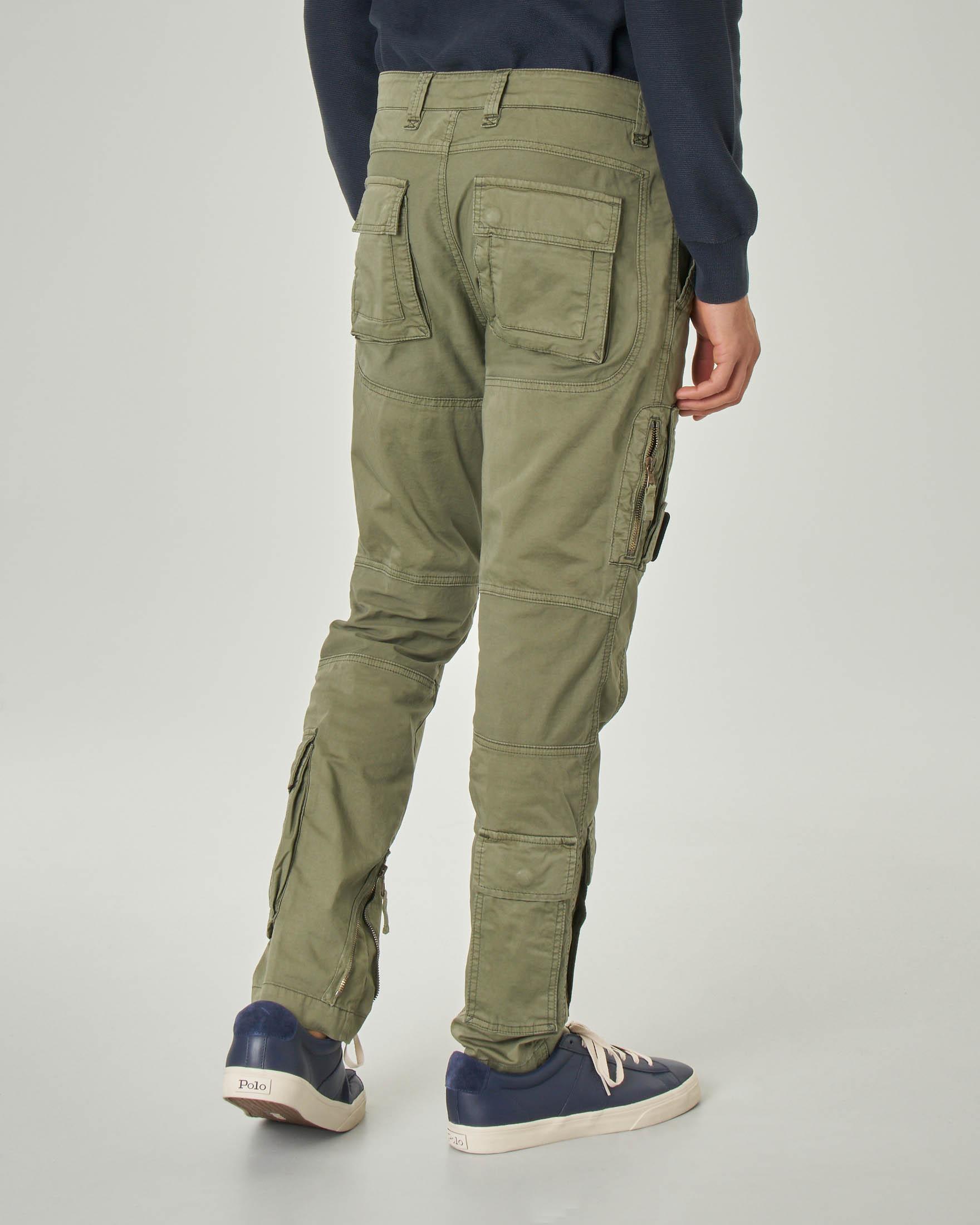 Pantalone Anti G verde militare in raso stretch | Pellizzari E commerce