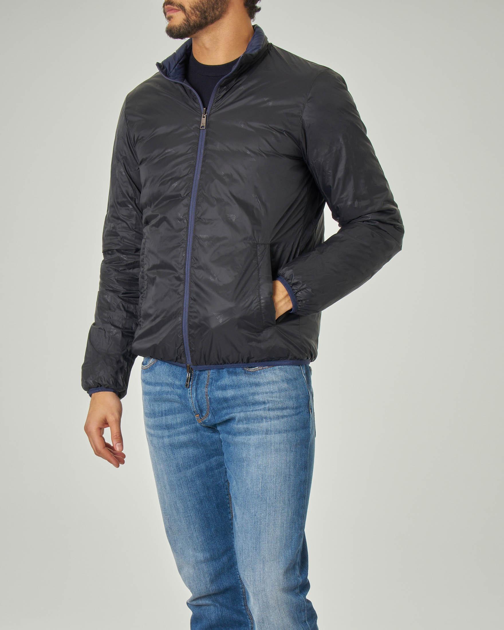 Piumino blu reversibile in giacca nera