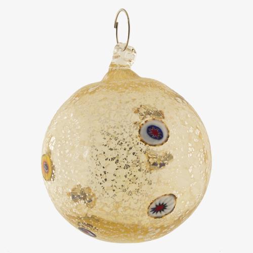 Palla di natale vetro Murano ambra chiaro tutto argento e murrine colorate