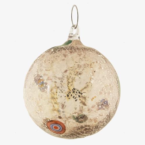 Palla di natale vetro Murano ametista tutto argento con murrine colorate