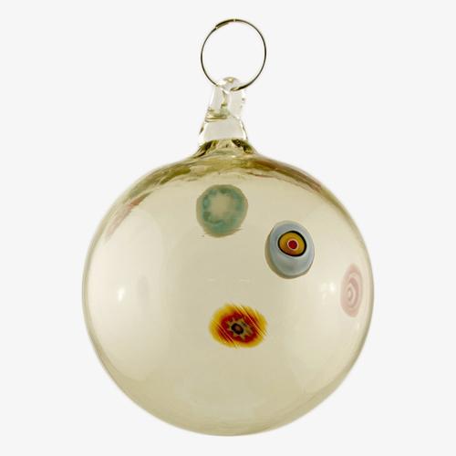 Palla di natale vetro Murano fumè con murrine colorate