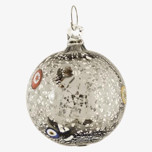 Palla di natale vetro Murano grigio scuro tutto argento con murrine colorate