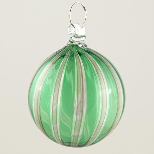 Palla Natale vetro Murano soffiato filigrana multicolore e avventurina colore verde e cristallo