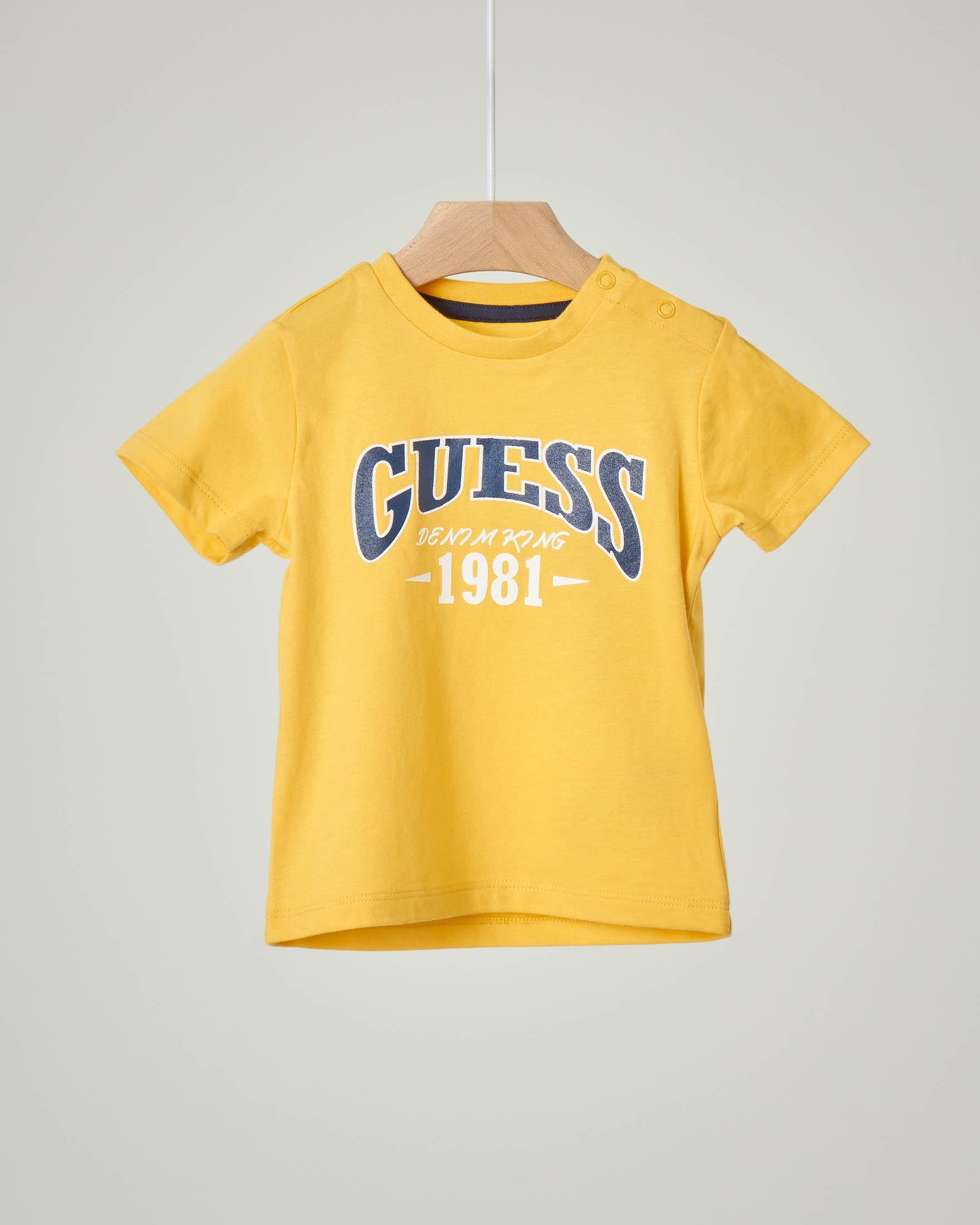 T-shirt gialla mezza manica con logo stampato 9-24 mesi