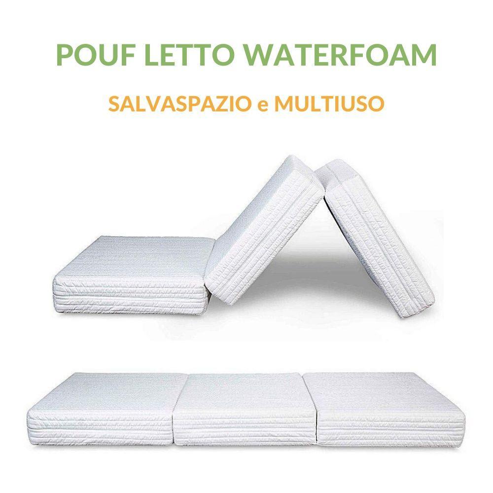 Letti Per Ospiti Salvaspazio pouf letto da seduta apribile con materasso waterfoam singolo 80x190