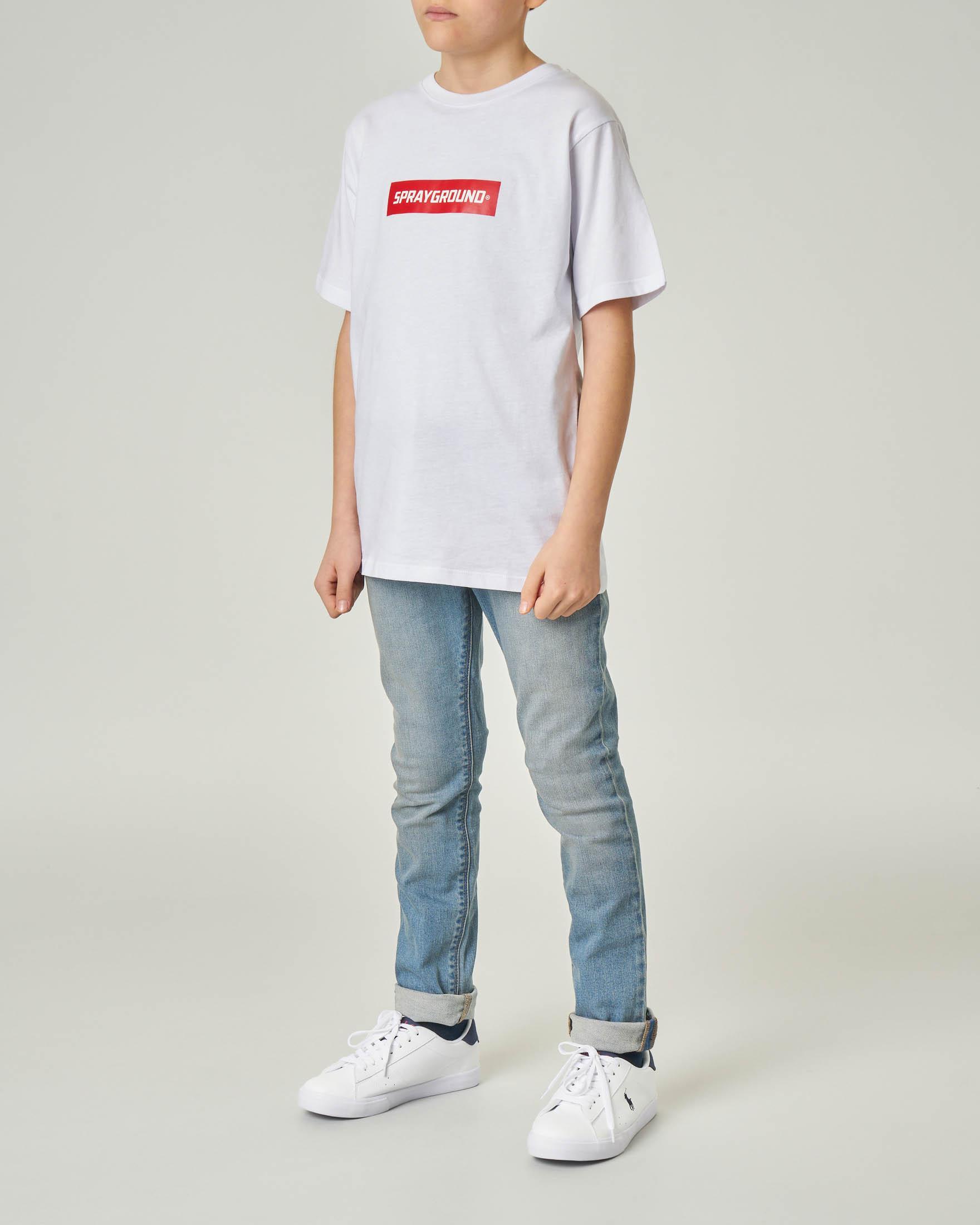 T-shirt bianca mezza manica con logo e grafica monster sul retro 10-14 anni