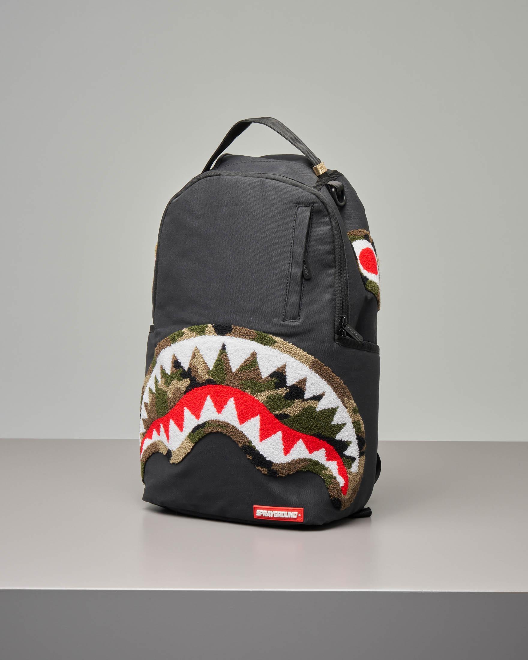 Zaino Camo Chenille Shark nero | Pellizzari E commerce