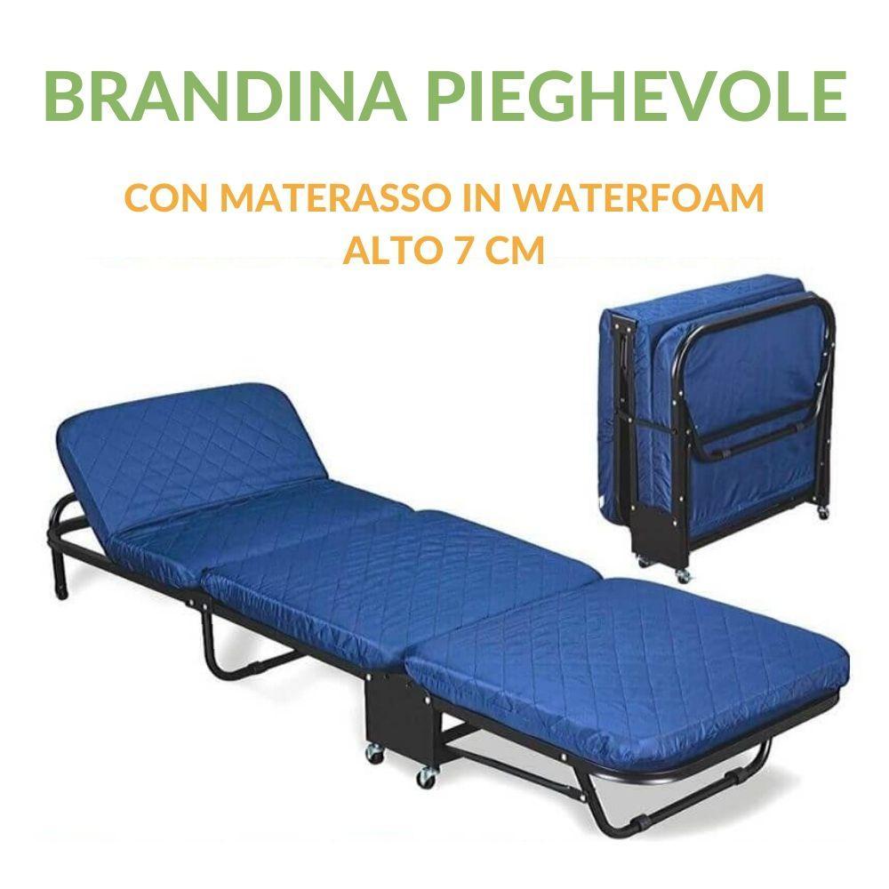 Letti Per Ospiti Salvaspazio brandina pieghevole con materasso waterfoam 65x190 alto 7 cm