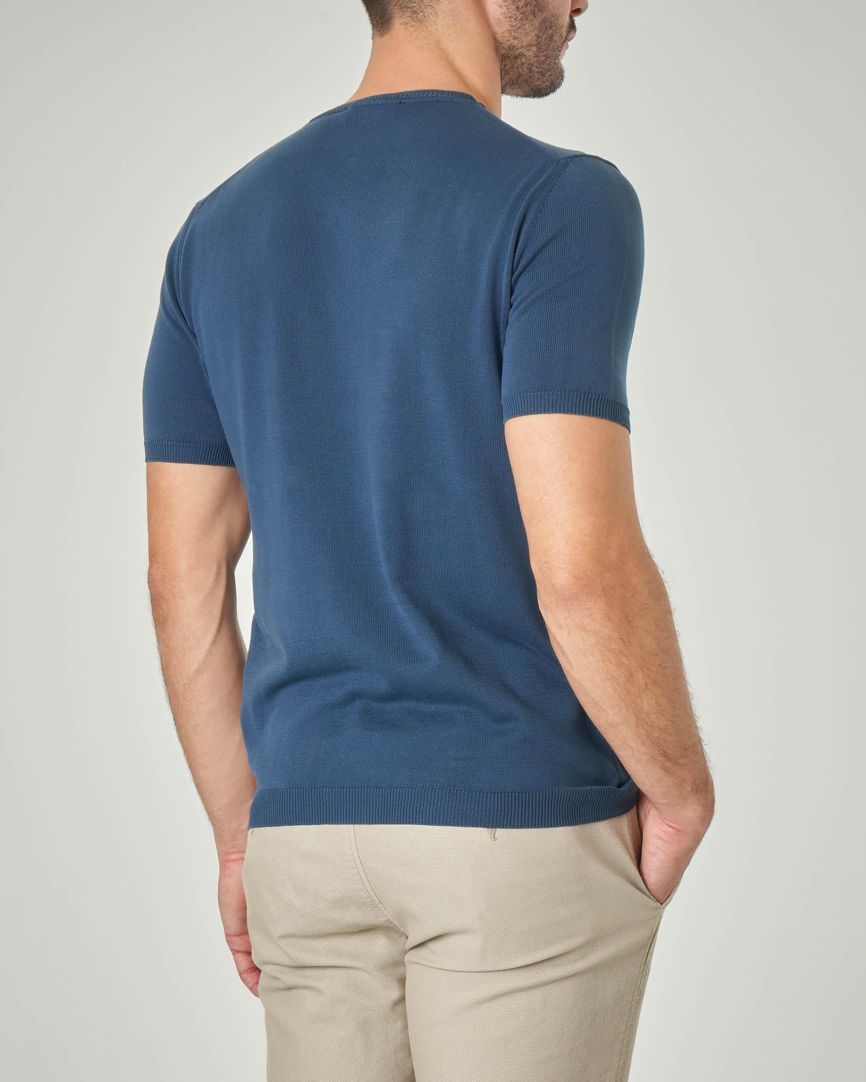 Maglia blu indaco a manica corta in cotone