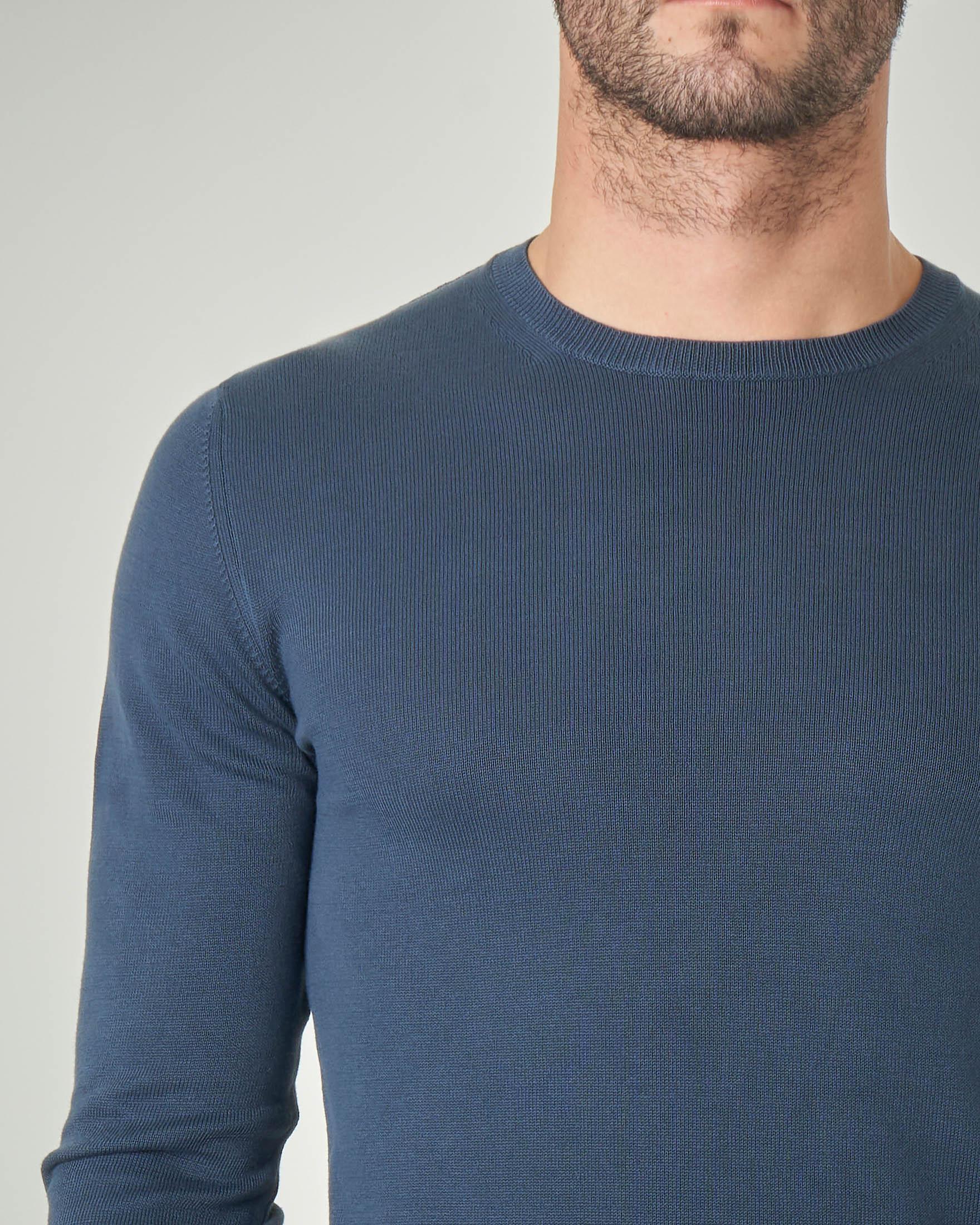 Maglia blu indaco girocollo in cotone
