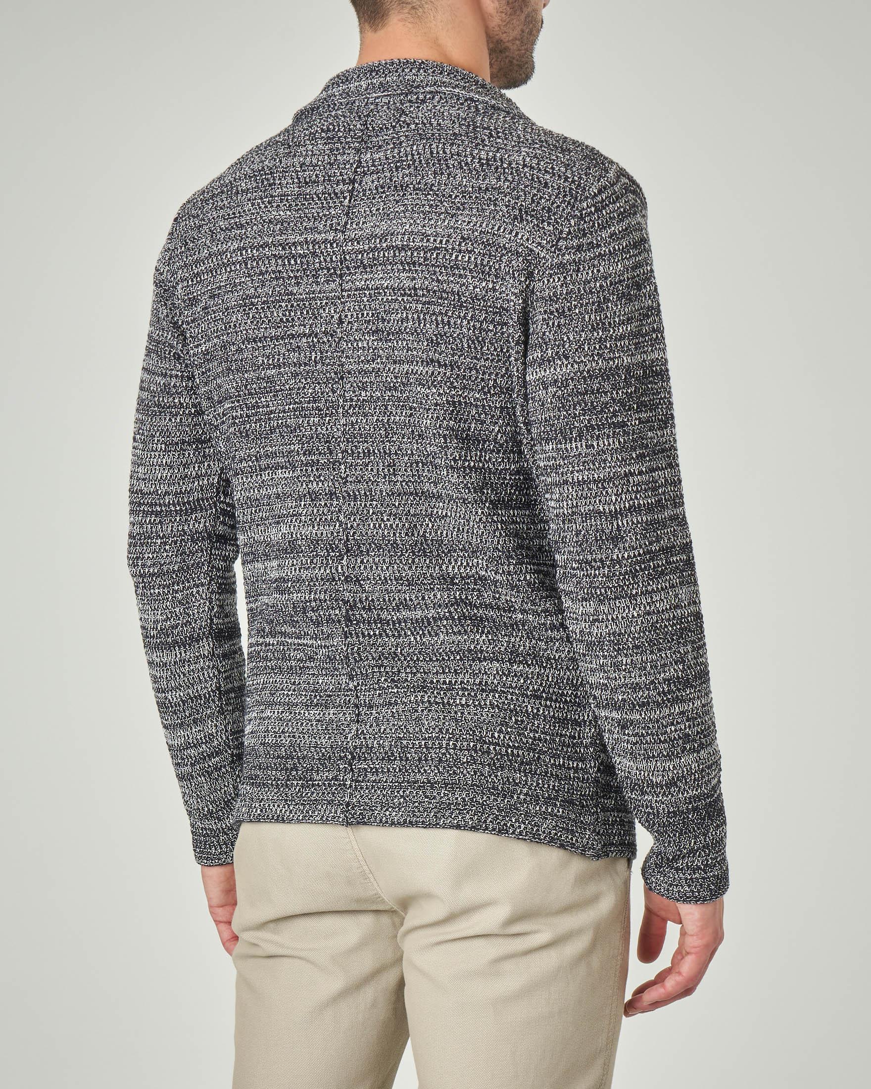 Giacca maglia blu e bianca in cotone punto canestro