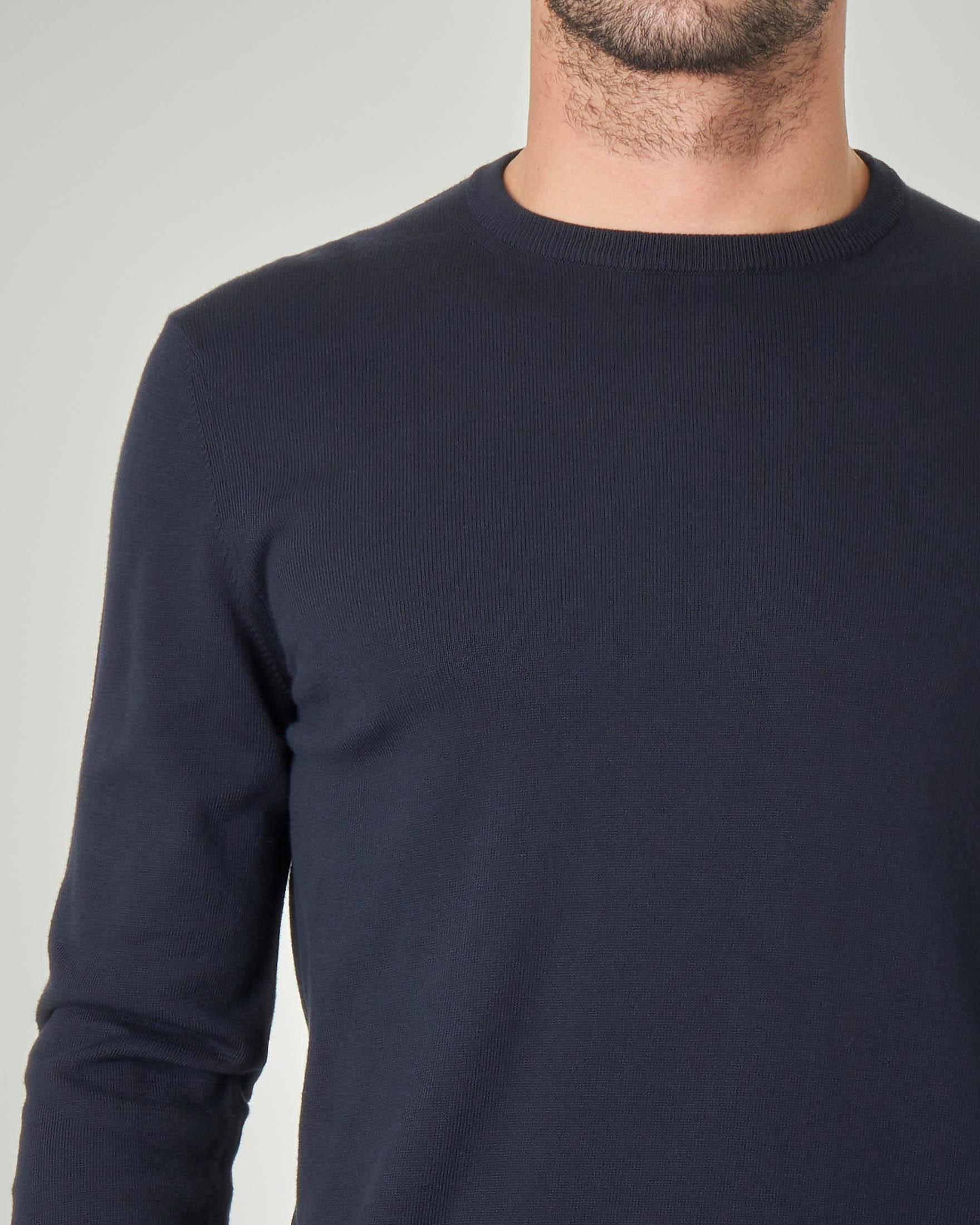 Maglia blu girocollo in cotone