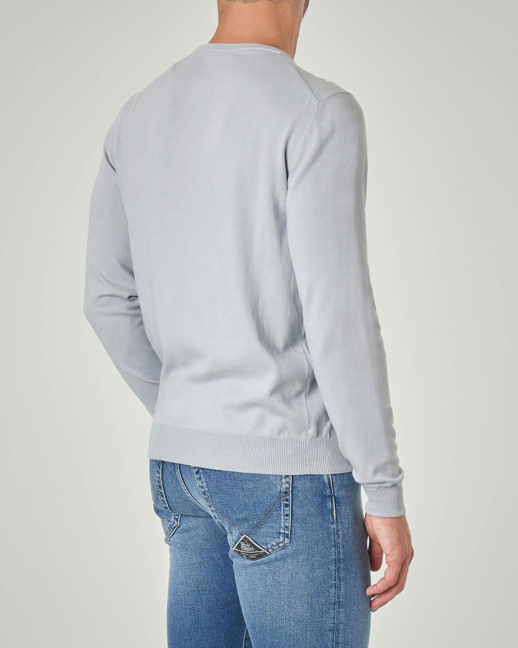 Maglia grigio chiaro girocollo in cotone