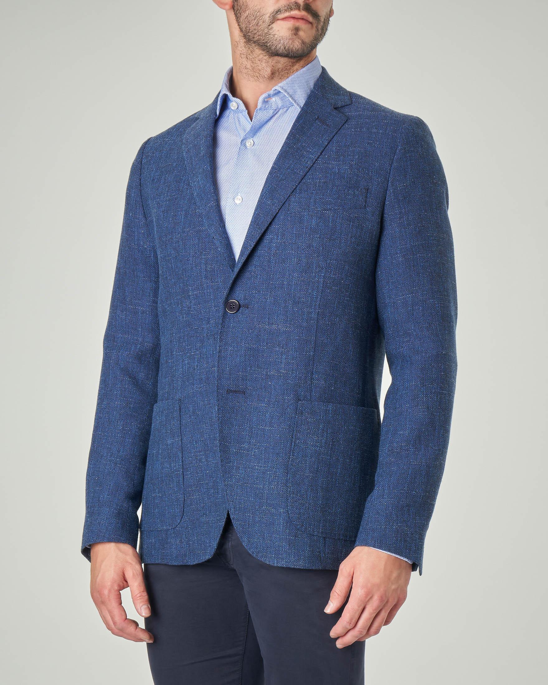 Blazer blu indaco in tela di lana cotone e lino