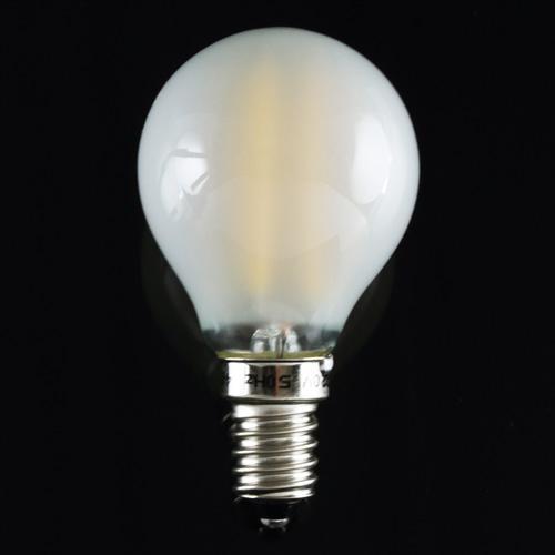 Lampadina satinata con 4 striscia Led COB lineari, attacco E14, 4W 230V, luce calda 3000K.
