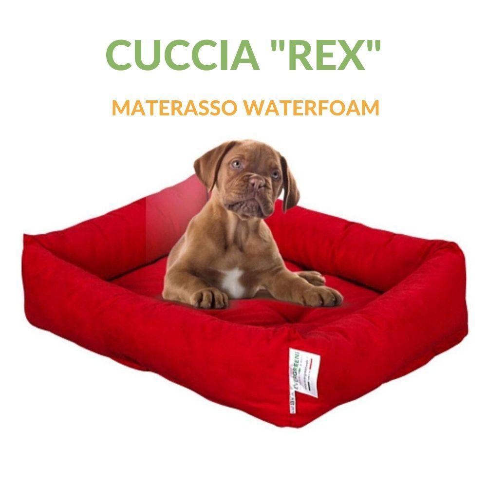 Cucce Piccole Per Cani letto per cani in waterfoam con rivestimento colore rosso