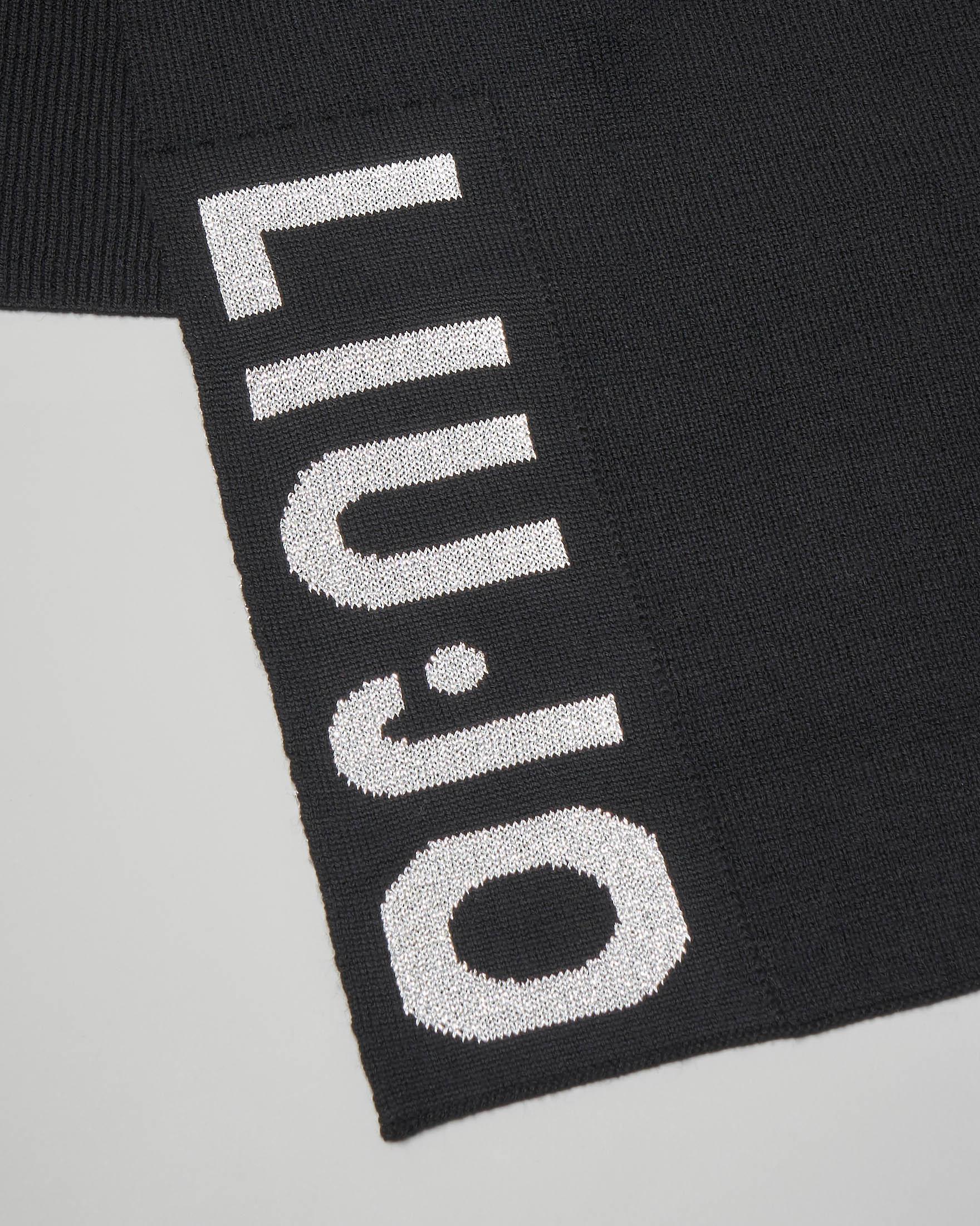 Sciarpa nera in lana con maxi-logo