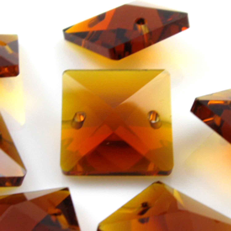 Quadruccio 16 mm ambra caldo cristallo vetro sfaccettato 2 fori