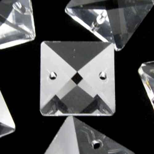 Quadruccio 16 mm colore puro trasparente cristallo vetro sfaccettato 2 fori
