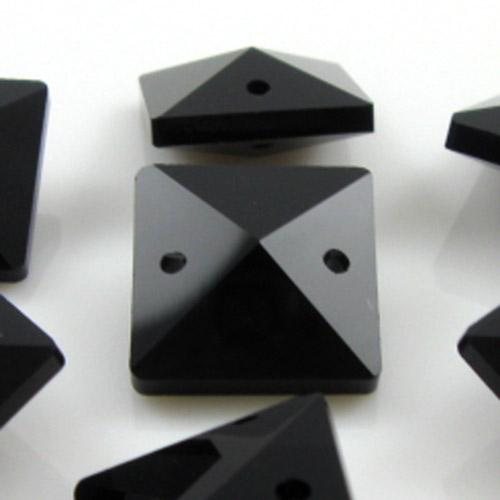 Quadruccio 16 mm nero lucido cristallo vetro sfaccettato 2 fori