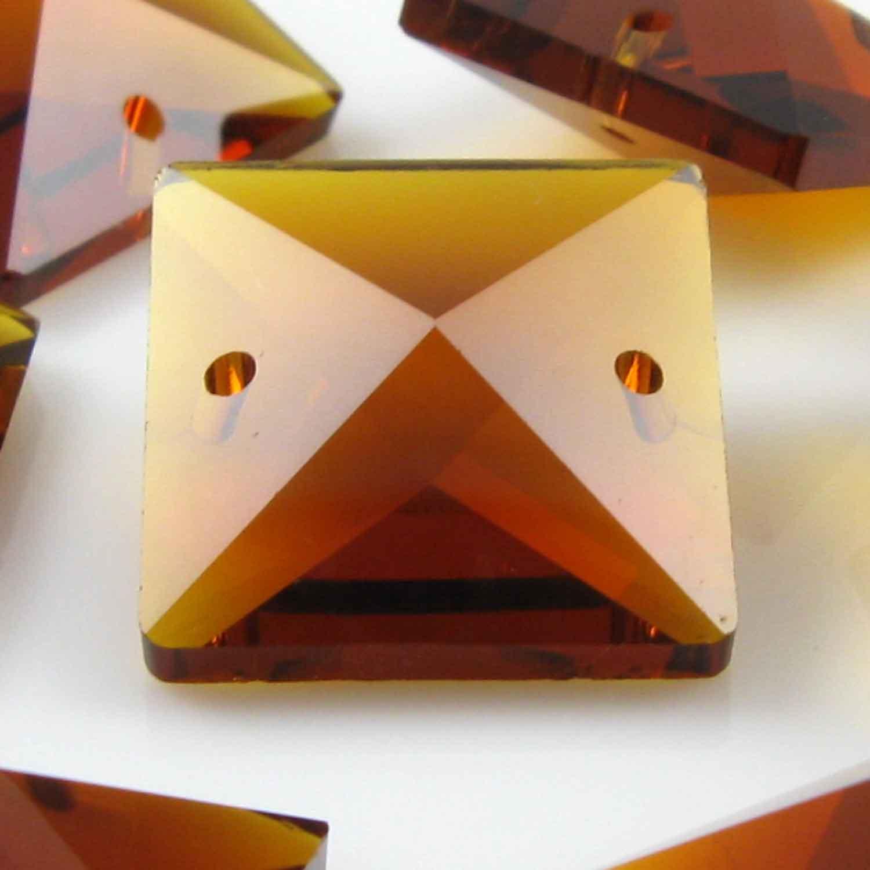 Quadruccio 20 mm ambra caldo cristallo vetro sfaccettato 2 fori