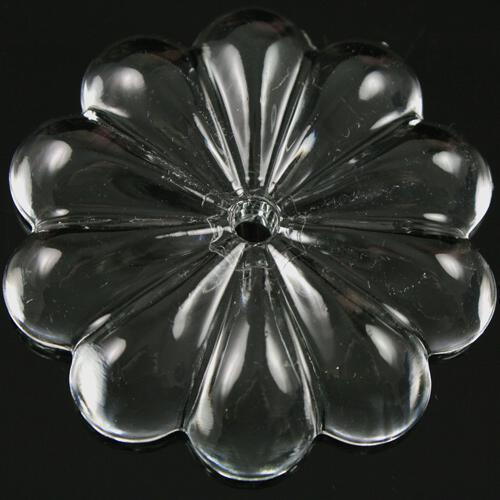 Rosellina 50 mm, rosetta in vetro veneziano cristallino, foro centrale