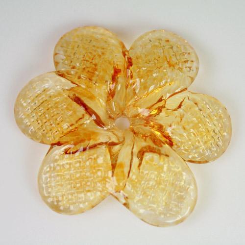 Rosellina a fiore in vetro di Murano colore ambra chiaro fatto a mano Ø50 mm con foro centrale