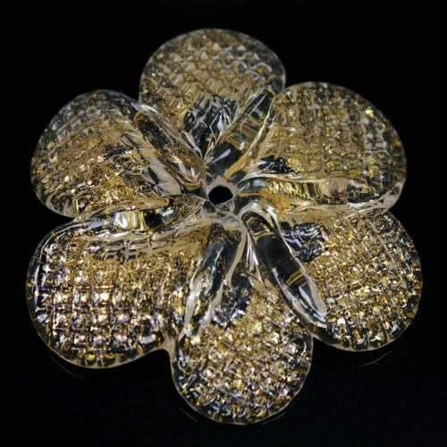 Rosellina a fiore in vetro di Murano colore oro zecchino su cristallo fatto a mano Ø50 mm con foro centrale