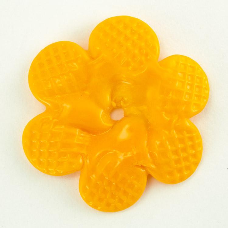 Rosellina a fiore in vetro di Murano colore pasta arancione fatto a mano Ø50 mm con foro centrale