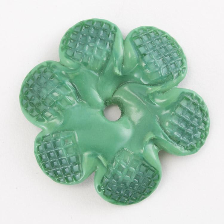 Rosellina a fiore in vetro di Murano colore pasta verde scuro fatto a mano Ø50 mm con foro centrale