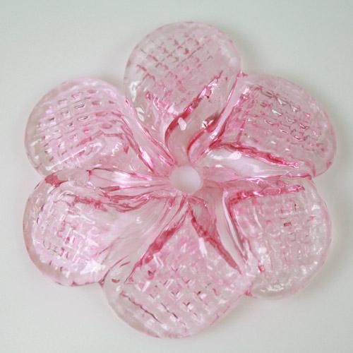 Rosellina a fiore in vetro di Murano colore rosa fatto a mano Ø50 mm con foro centrale
