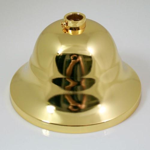 Rosone copri cavi per lampadari, metallo finitura ottone brillante, Ø 9 cm, con collarino.