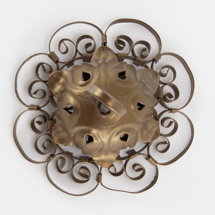 Rosone Ø14 con aggancio a crocetta oro anticato in ferro forgiato per lampadario stile antico veneziano
