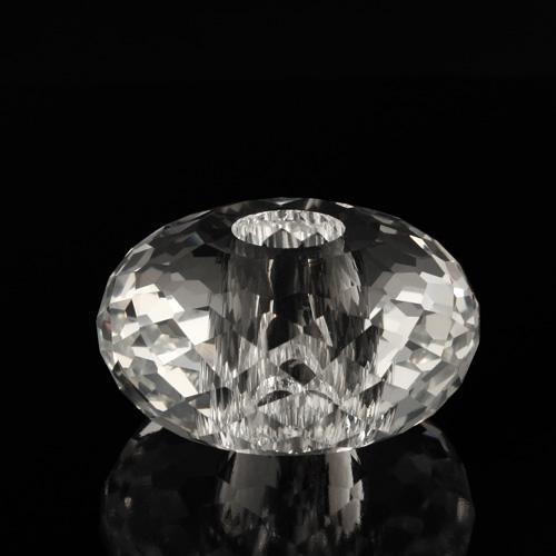 Sfera in cristallo molato e sfaccettato colore puro Ø 50 mm h 27 mm foro Ø 14 mm, doppio foro